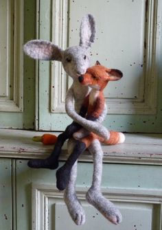 Needle felted fox & rabbit