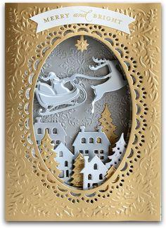 Simple Christmas Cards, Christmas Makes, Xmas Cards, Handmade Christmas, Holiday Cards, Christmas Crafts, Christmas Shadow Boxes, Christmas Snow Globes, Anna Griffin Cards