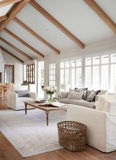 I immediately felt inspired walking into this room. The vaulted ceilings enhanced by beams, the shape of the existing built in shelves, and the fireplace were all details that I knew I wanted to preserve. We just needed to brighten them up a bit. Tiny Living Rooms, Beautiful Living Rooms, Home Living Room, Living Room Designs, Fixer Upper Living Room, White Living Rooms, Small Living, Interior Design Living Room Warm, Interior Design Blogs