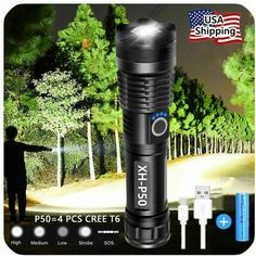 Super-Bright 90000LM LED Tactical Flashlight With Rechargeable Battery 880542797275 | eBay