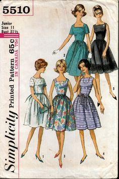 Simplicity 5510 Juniors' and Misses' One-Piece Dress $10 #vintage #1960 #madmen…