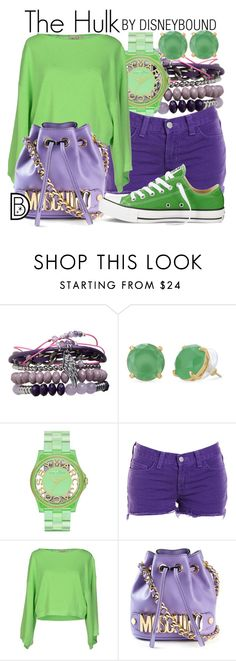 """The Hulk"" by leslieakay ❤ liked on Polyvore featuring Pieces, Stella & Dot, Marc by Marc Jacobs, J Brand, KI6? Who Are You?, Moschino, Converse, women's clothing, women's fashion and women"
