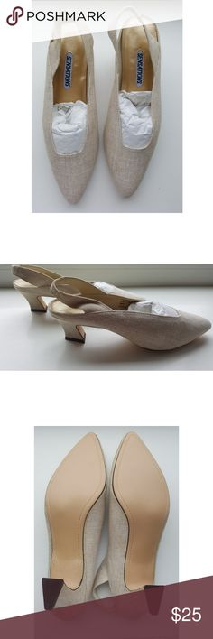 SENSATIONS LINEN SLINGBACKS 8.5M Brand New without box from Macy's NYC.? These beauties have never been worn.? Gorgeous cream/beige color linen and comfortable 1.5- 2 inch block heel.? Fabric upper and leather sole.? These shoes are gorgeous and in pristine new condition.? Paid $39 plus tax. My loss is your gain.  Price is firm.  Commission deducted by app is approximately 20% Open to reasonable offers but please no low ball offers. Serious buyers only, please :) Sensations Shoes