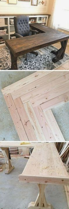 Plans of Woodworking Diy Projects - Check out the tutorial how to build a DIY l-shaped farmhouse desk DIY Home Decor Ideas @ ISD Get A Lifetime Of Project Ideas & Inspiration! #DIYHomeDecorIkea #WoodworkDIY