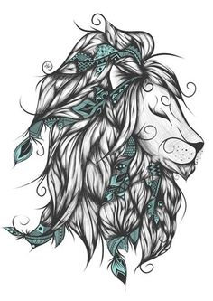 Poetic Lion Turquoise Art Print by loujah Leo Tattoos, Animal Tattoos, Future Tattoos, Body Art Tattoos, Tatoos, Lion King Tattoos, Tigh Tattoo, Petit Tattoo, Tattoo Und Piercing