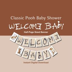 Classic Pooh Baby Shower Welcome Baby Banner by LaArtistaSamantha
