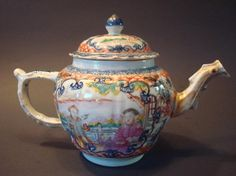"Antique Chinese Famille Rose Large Teapot, 18th C, Qianlong Period. 6 1/2"" H, 9 1/2"" wide"
