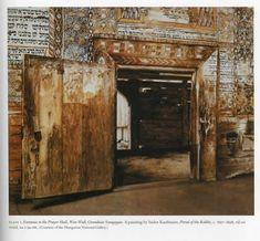 entrance to prayer hall in Wooden Synagogue at Gwozdziec (Gov-vosz-djets) Location: Poland / present Ukraine (destroyed in 1939)
