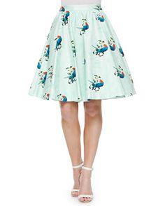T9XYQ Alice + Olivia Earla Bird-Print Flare Skirt
