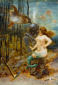 French School - Deep Sea Diver with a Mermaid and a Shark