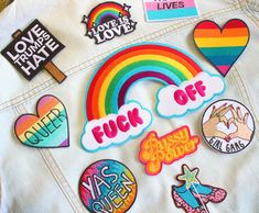 Give your denim jacket a rework and new lease of life with some colourful LGBT themed patches 😍🏳️‍🌈✨ Blue Topaz Necklace, Onyx Necklace, Denim Jacket Patches, Punks Not Dead, Ruby Slippers, Rainbow Heart, Chanel Jewelry, Word Of The Day, Girl Gang
