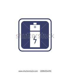 Battery icon or logo in flat style isolated on a white background