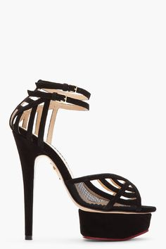 CHARLOTTE OLYMPIA Black Suede Spiderweb Octavia Sandals