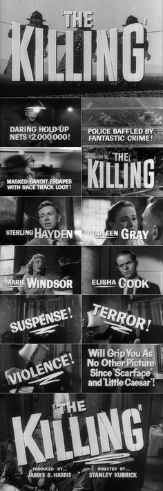 The Killing (1956) film noir movie trailer typography  #filmnoir #1950s #kubrick