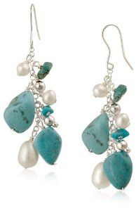 Turquoise and Freshwater Cultured Pearl Linear Drop French Wire Earrings