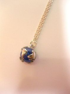 Blue Earth Globe Necklace  Optional Chain by FashionCrashJewelry