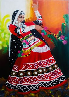 Buy 'chirmi' The Folk Dancer Painting at Lowest Price by Pankaj Tunwal Mughal Paintings, Dance Paintings, Indian Art Paintings, Wedding Card Design Indian, Indian Women Painting, Indian Illustration, Dance Art, Folk Dance, India Painting