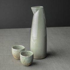 Sake Set, Large, Celadon Grey
