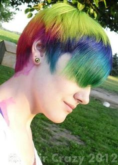 short rainbow sectioned hair