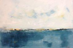 Calm Blue Abstract Seascape Original Painting Deep by lindadonohue