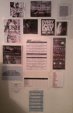 My fitness inspiration wall with the insanity workout schedule in the center :)  lol, I need to put mine back up, I though I was crazy for having one of these. :P