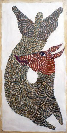 Oil on canvas, 1996, by renowned Gond artist, Jangarh Singh Shyam.