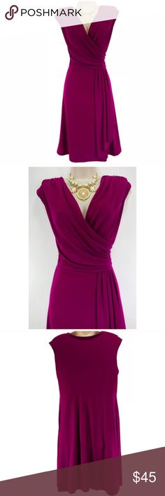 """XL X-LARGE MAGENTA FAUX-WRAP CASCADE DRESS Evening This gorgeous magenta dress is sexy, flattering, &  fashionable!   Size: XL Slip on/off Surplice neckline  Faux-Wrap style w/ cascade drape Very thin shoulder pads sewn into the lining Gorgeous boysenberry color Stretchy, comfortable fabric Measurements: Bust (armpit to armpit): 40"""" relaxed - stretches to 51"""" Waist: 36"""" relaxed - stretches to 42"""" Hips: 51"""" relaxed Length: 39"""" (top of shoulder to bottom hem)  Condition: LIKE NEW! Fabric…"""