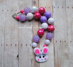 Pink and Purple with Bunny Pendant Easter by LauraLeeDesigns108, $16.99