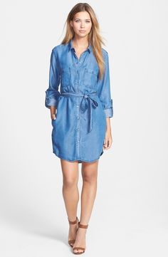 Velvet Heart Roll Sleeve Chambray Shirtdress