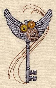 Embroidery Designs at Urban Threads - Steam Motifs - Winged Key