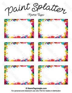 Free printable paint splatter name tags. The template can also be used for creating items like labels and place cards. Download the PDF at http://nametagjungle.com/name-tag/paint-splatter/