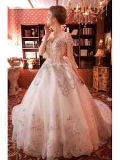 Heavily Beaded Ball Gown Floor-length Lace-up Bowknot Crystal Chapel Train Wedding Dress & informal Wedding Dresses