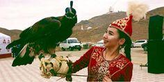 kazakh girl and falcon
