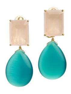 """Earrings set with faceted Rose Quartz and Teal Cat's Eye drop. Wire on Back allows the drop to be removed, giving you 2 earrings in 1. Measures approximately 2"""" long. Set in 24K Gold plated Brass.Please select clip or post backings."""