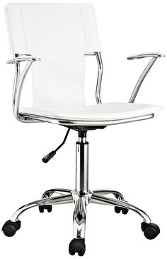 Studio Chrome White Swivel Office Chair - #7J944 | Lamps Plus