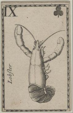Lobster playing card printed by Joseph Moxon, London, ca.  1680.