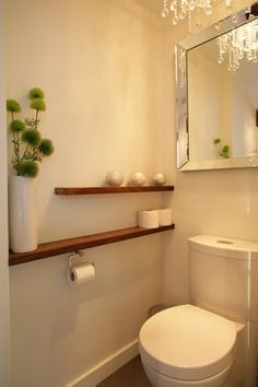 shelf beside the toilet wall to wall instead of behind. shelf above - shelf beside the toilet wall to wall instead of behind. shelf above shelf beside the toilet wall to wall instead of behind. shelf above Bathroom Toilets, Laundry In Bathroom, Bathroom Shelves, Bathroom Wall, Shelf Wall, Mirror Shelves, Wall Mirror, Bathroom Storage, Bathroom Interior