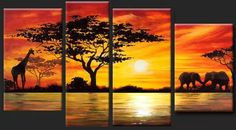 Home Decoration African Elephant Painting Wall Decor Giraffe Sunset Landscape Canvas Painting Multi Panel Handpainted Set(China (Mainland)) Canvas Painting Landscape, Large Painting, Hand Painting Art, Painting Canvas, Painting Walls, Woman Painting, Extra Large Wall Art, Large Art, Multiple Canvas Paintings