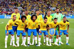 c9243e928 The Brazil team line up before the 2018 FIFA World Cup Russia group E match  between