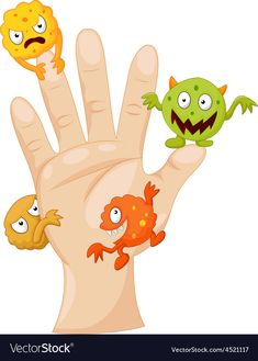 Illustration of Dirty palm with cartoon germs vector art, clipart and stock vectors. Preschool Worksheets, Preschool Activities, Hand Hygiene Posters, Hand Washing Poster, Body Preschool, Kids Education, Pre School, Teaching Kids, Cartoon