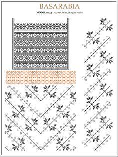 Semne Cusute: iie din BASARABIA, Transnistria - desen dupa fotografie (3) Embroidery Sampler, Folk Embroidery, Embroidery Patterns, Knitting Patterns, Cross Stitch Borders, Cross Stitching, Cross Stitch Patterns, Palestinian Embroidery, Beading Patterns