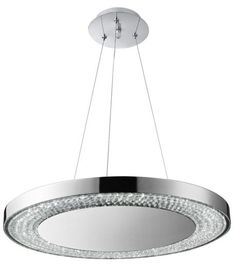 SEARCHLIGHT 58880 80CC Pendant Fitting 80 Light Finished In Polished Chrome And Crystal Glass Decor