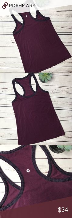 "{Lululemon} sz 6 cool racerback tank in plum Lululemon cool racerback tank in excellent condition. Shows minimal wear and has no flaws. Features this gorgeous plum color with navy stripes around the trim.  *Note* no size dot on this tank, please see measurements to ensure proper fit!   Measurements approximate: Bust: 13 1/2"" Shoulder to hem: 24""  Offers always welcome in my closet! lululemon athletica Tops Tank Tops"