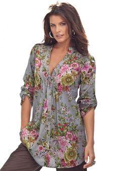 English Floral Bigshirt   Plus Size Shirts & Blouses   Roamans