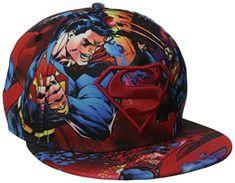 090db13ec171f Superman Men s Microfiner All Over Sublimation Print Flat Brim Snap Back