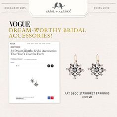 Here comes the Bride....Find all your accessories for yourself and your attendants at my C + I Boutique!  Featured in Vogue: Dream-Worthy Bridal Accessories!