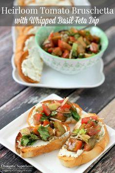 Fresh Heirloom Tomato Bruschetta with Whipped Basil Feta Dip