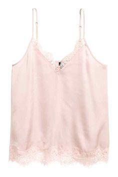 Атласная майка - Светло-розовый - Женщины   H&M RU