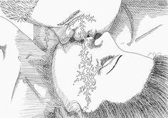 Gerald Ligonnet - baiser Black & white drawing #art #drawing #illustration #blackandwhitedrawing
