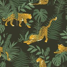 Forest Tropical Cheetah Fabric - Leopards In Forest / Jungle Park By Julia Dreams - Forest Cotton Fabric By The Metre by Spoonflower Print Wallpaper, Animal Wallpaper, Custom Wallpaper, Leopard Wallpaper, Wallpaper Jungle, Purple Wallpaper, Designer Wallpaper, Tissu Minky, Jungle Art
